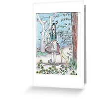 Lady and the Dogwoods Greeting Card