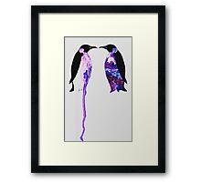 Penguins in Blue Framed Print