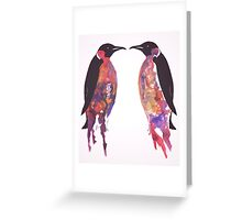 Penguins in Pink Greeting Card