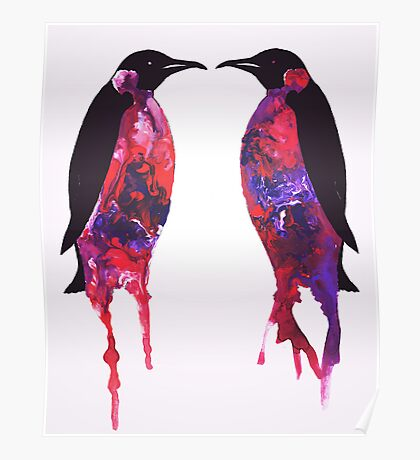 Penguins in Purple Poster