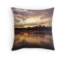 Sunset at harbor Throw Pillow