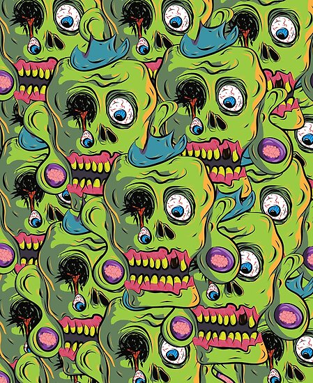A bunch of Zombie Skulls by jerasky