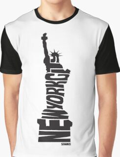 New York City: Statue of Liberty Black Graphic T-Shirt