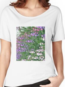 Watercolor Effect of Colorful Flowers Women's Relaxed Fit T-Shirt