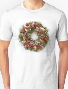 Christmas Wreath on White Background Unisex T-Shirt
