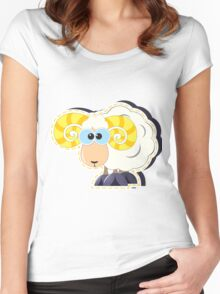 ram with yellow horns cartoon Women's Fitted Scoop T-Shirt