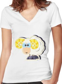 ram with yellow horns cartoon Women's Fitted V-Neck T-Shirt