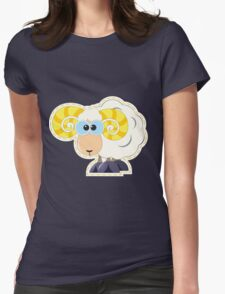 ram with yellow horns cartoon Womens Fitted T-Shirt