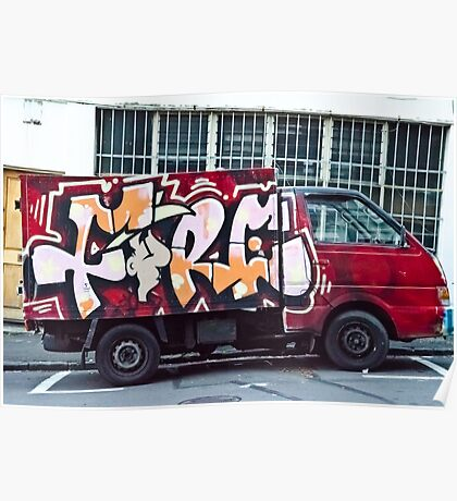 Abstract Graffiti on the side of a truck. Poster