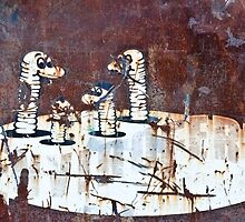 Worms Graffiti on the grunge rusty metal wall by yurix