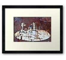 Worms Graffiti on the grunge rusty metal wall Framed Print