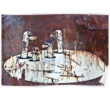 Worms Graffiti on the grunge rusty metal wall Poster