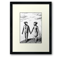 Damaged Androids in Love Framed Print