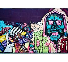 Jolly Hallucinogenic 1969 Graffiti with a Skull and the Others Photographic Print
