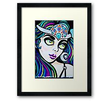Jolly Hallucinogenic Graffiti with an Oriental Beauty Framed Print