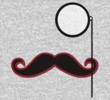 Moustache, Monocle, Polka Dots - Black Green Red One Piece - Long Sleeve