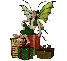 Christmas Fairy Elf Boy Sitting on a Pile of Presents Photographic Print