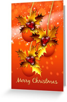 Modern Ornament Christmas Greeting Card In Orange Blends by Moonlake