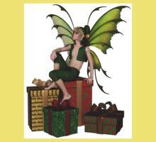 Christmas Fairy Elf Boy Sitting on a Pile of Presents Kids Tee