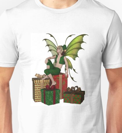Christmas Fairy Elf Boy Sitting on a Pile of Presents Unisex T-Shirt