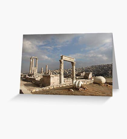 Colossal Roman Statue Fragments in Amman Jordan Greeting Card