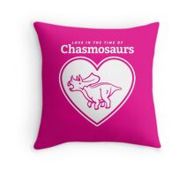 Love in the Time of Chasmosaurs logo: white Throw Pillow