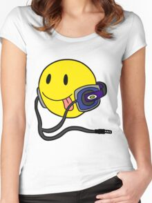 Smiley Headphone Women's Fitted Scoop T-Shirt