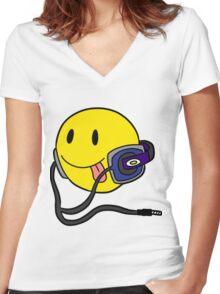 Smiley Headphone Women's Fitted V-Neck T-Shirt