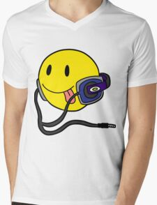 Smiley Headphone Mens V-Neck T-Shirt