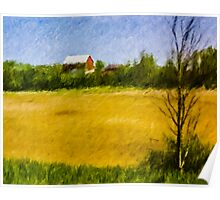 Wheat Field with Red Barn Poster