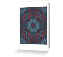 Vintage Fancy - a Pattern in Deep Teal & Red Greeting Card