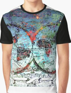 world map antique 3 Graphic T-Shirt