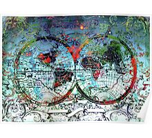 world map antique 3 Poster