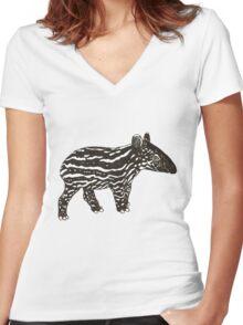 Baby Tapir Women's Fitted V-Neck T-Shirt