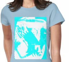 Abstract brush face - blue Womens Fitted T-Shirt