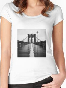 Brooklyn Bridge In Rain Women's Fitted Scoop T-Shirt