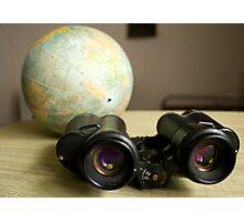 Binoculars and Globe Photographic Print