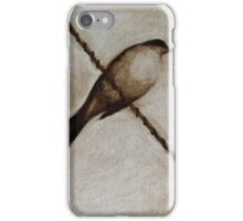 Bird on a wire painting iPhone Case/Skin