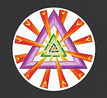 Sacred Geometry - Full-Color Card, Grey Background by TheMandalaLady