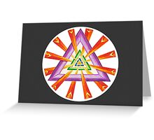 Sacred Geometry - Full-Color Card, Grey Background Greeting Card