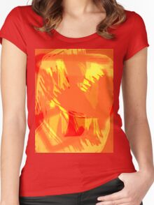 Abstract brush face - orange Women's Fitted Scoop T-Shirt