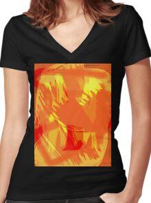 Abstract brush face - orange Women's Fitted V-Neck T-Shirt