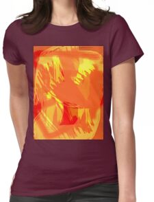 Abstract brush face - orange Womens Fitted T-Shirt