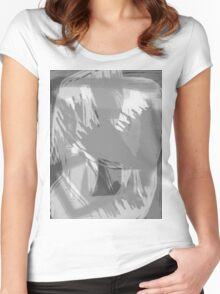 Abstract brush face - grey Women's Fitted Scoop T-Shirt