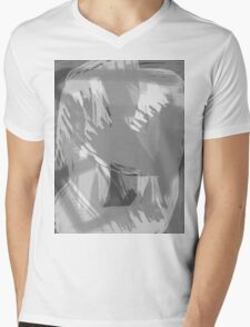Abstract brush face - grey Mens V-Neck T-Shirt