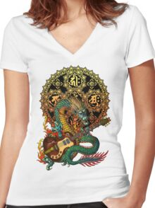 Dragon guitar  Women's Fitted V-Neck T-Shirt
