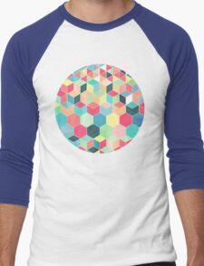 Yummy Summer Colour Honeycomb Pattern Men's Baseball ¾ T-Shirt