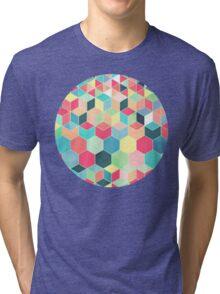 Yummy Summer Colour Honeycomb Pattern Tri-blend T-Shirt