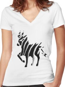 Zebstrika used agility Women's Fitted V-Neck T-Shirt