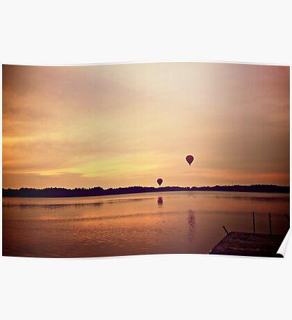 Balloon sunset Poster